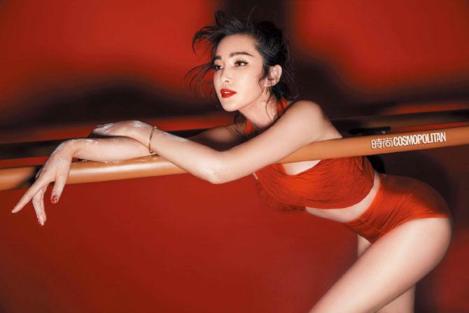 Ли Бинбин фотосессия в красном цвете
