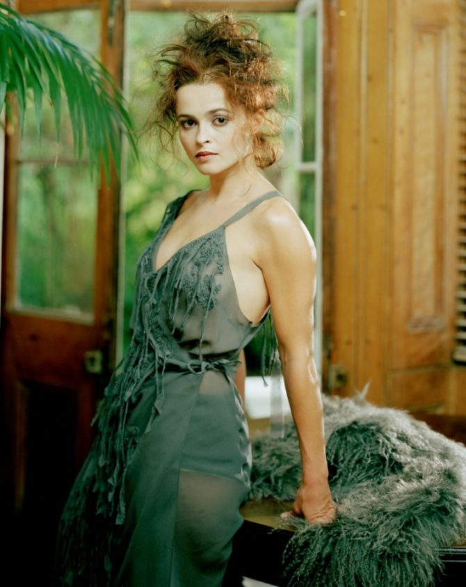 Хелена Бонем Картер фото в зелёном прозрачном платье